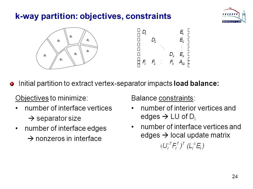 k-way partition: objectives, constraints 24 Objectives to minimize: number of interface vertices  separator size number of interface edges  nonzeros in interface Balance constraints: number of interior vertices and edges  LU of D i number of interface vertices and edges  local update matrix Initial partition to extract vertex-separator impacts load balance: