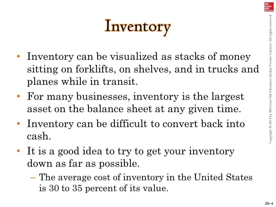 20–4 Copyright © 2014 by McGraw Hill Education (India) Private Limited. All rights reserved. Inventory can be visualized as stacks of money sitting on