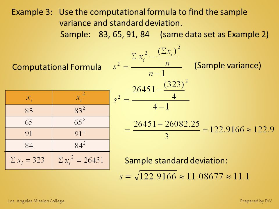Example 3: Use the computational formula to find the sample variance and standard deviation. Sample: 83, 65, 91, 84 (same data set as Example 2) Compu