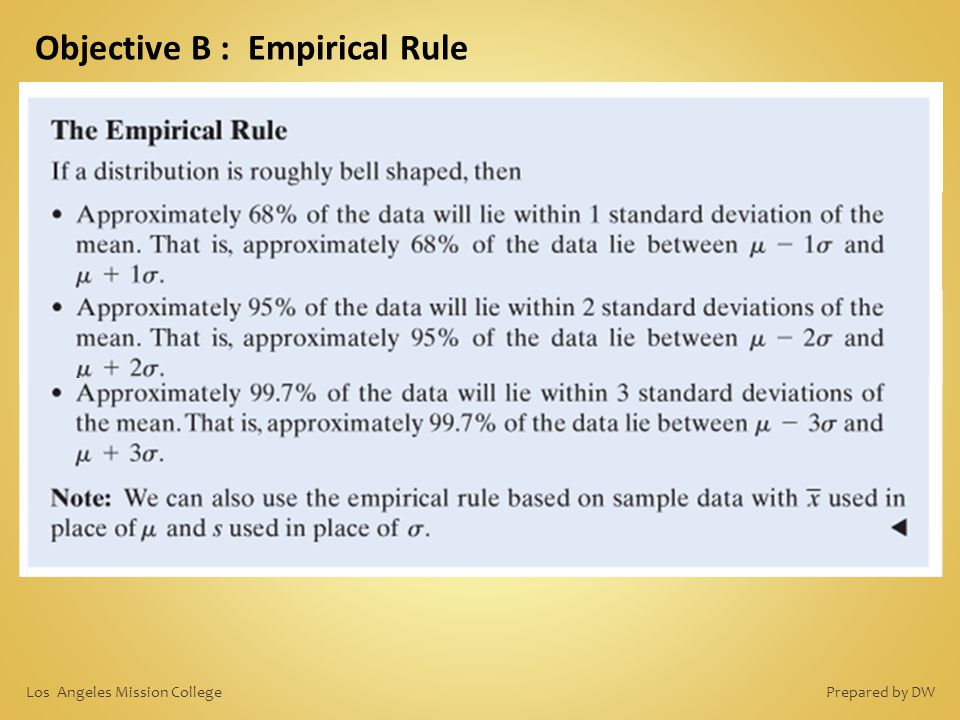 Objective B : Empirical Rule Prepared by DWLos Angeles Mission College