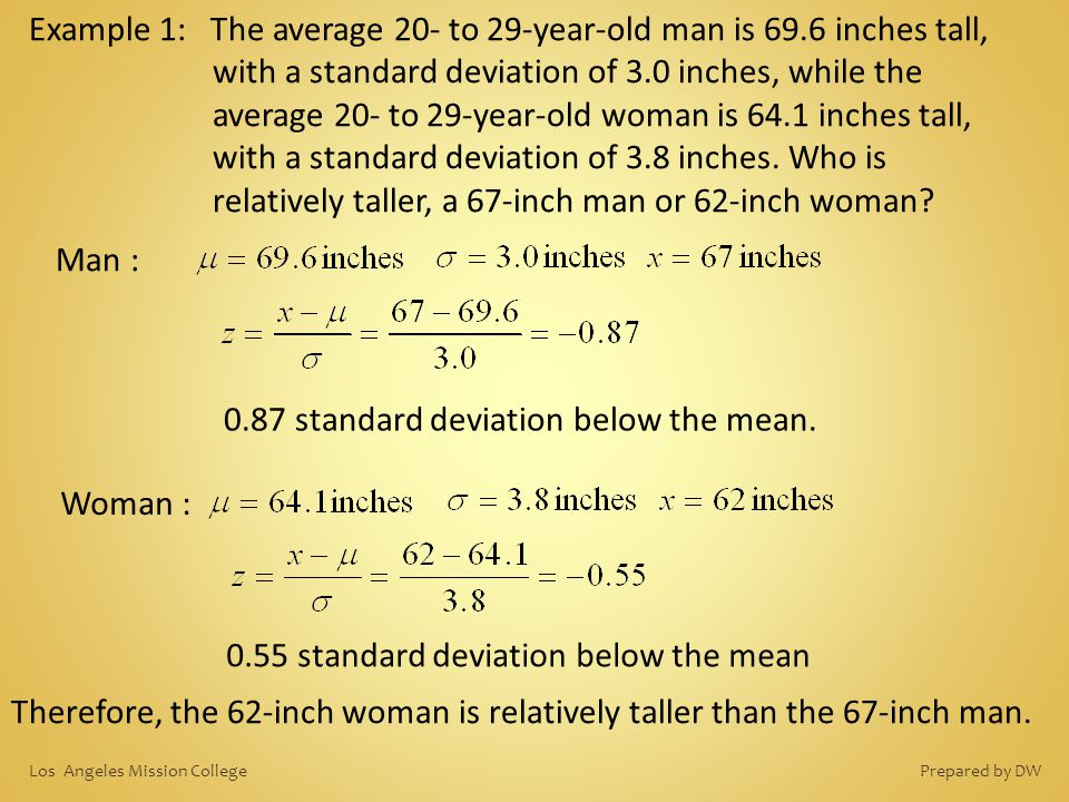 Example 1: The average 20- to 29-year-old man is 69.6 inches tall, with a standard deviation of 3.0 inches, while the average 20- to 29-year-old woman