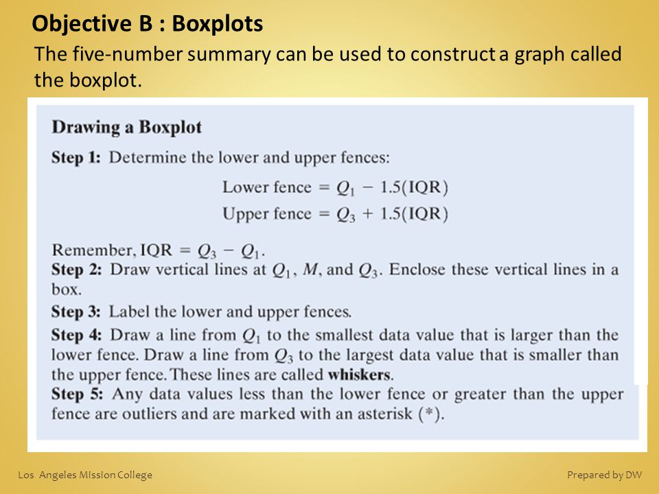 Objective B : Boxplots The five-number summary can be used to construct a graph called the boxplot. Prepared by DWLos Angeles Mission College