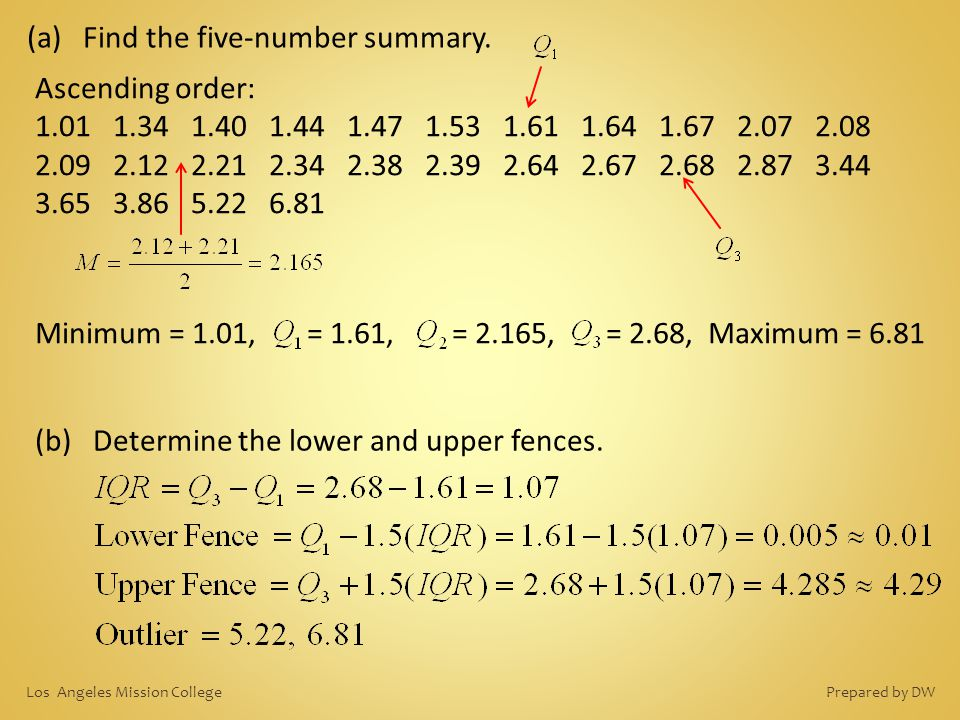 (b) Determine the lower and upper fences. (a) Find the five-number summary. Ascending order: 1.01 1.34 1.40 1.44 1.47 1.53 1.61 1.64 1.67 2.07 2.08 2.