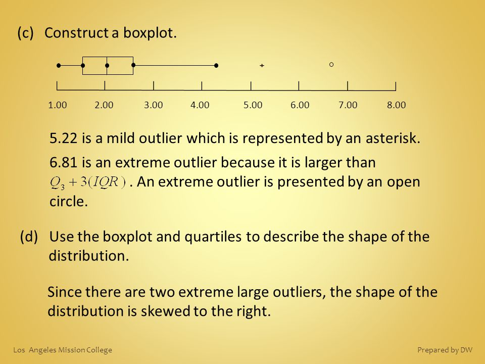 Since there are two extreme large outliers, the shape of the distribution is skewed to the right. (c) Construct a boxplot. 1.002.003.004.00 5.007.00 6