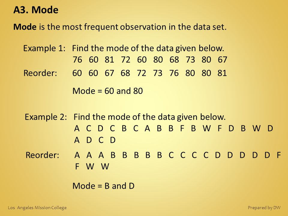 A3. Mode Mode is the most frequent observation in the data set. Example 1: Find the mode of the data given below. 76 60 81 72 60 80 68 73 80 67 Reorde