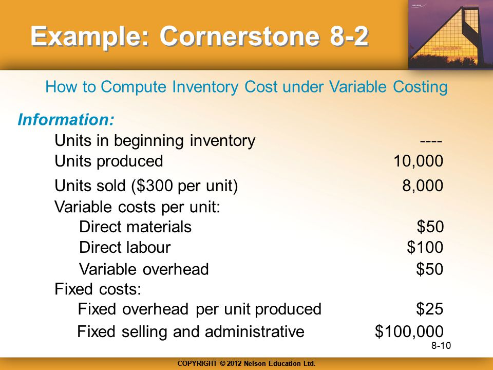 COPYRIGHT © 2012 Nelson Education Ltd. Example: Cornerstone 8-2 Information: Units in beginning inventory Units produced Units sold ($300 per unit) Va