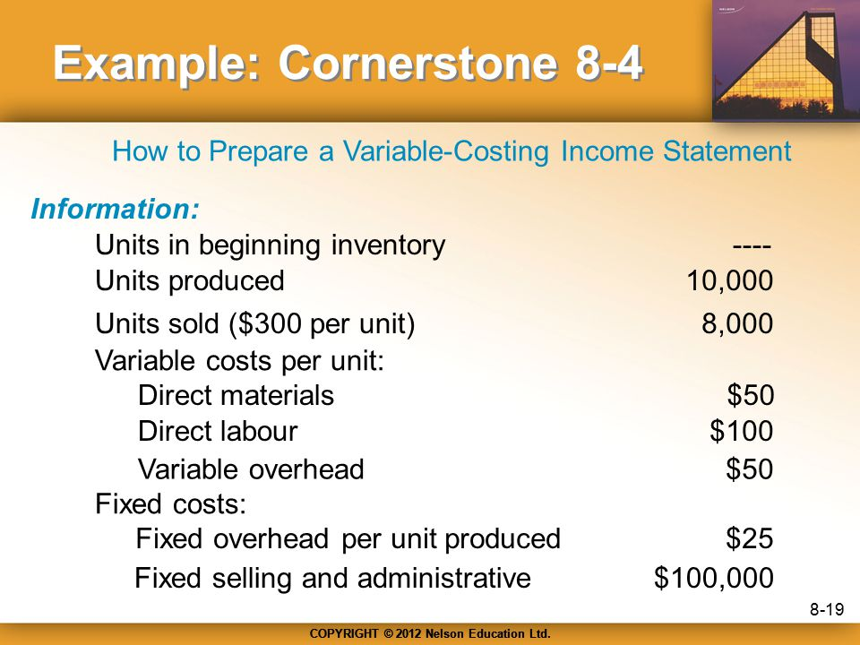 COPYRIGHT © 2012 Nelson Education Ltd. Example: Cornerstone 8-4 Information: Units in beginning inventory Units produced Units sold ($300 per unit) Va