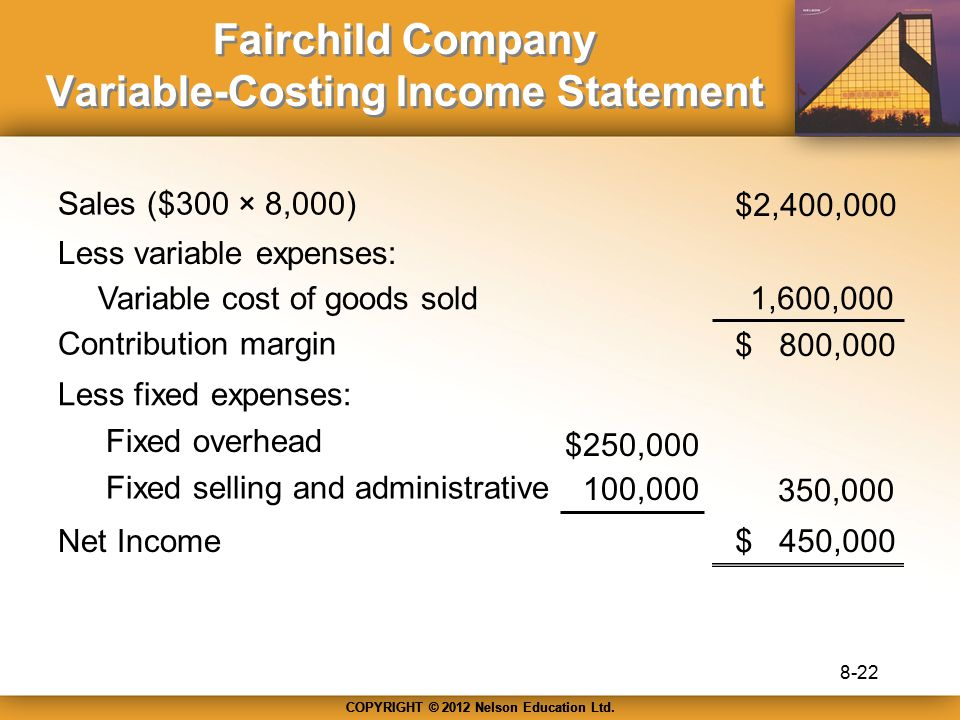 COPYRIGHT © 2012 Nelson Education Ltd. Fairchild Company Variable-Costing Income Statement Sales ($300 × 8,000) Less variable expenses: Variable cost