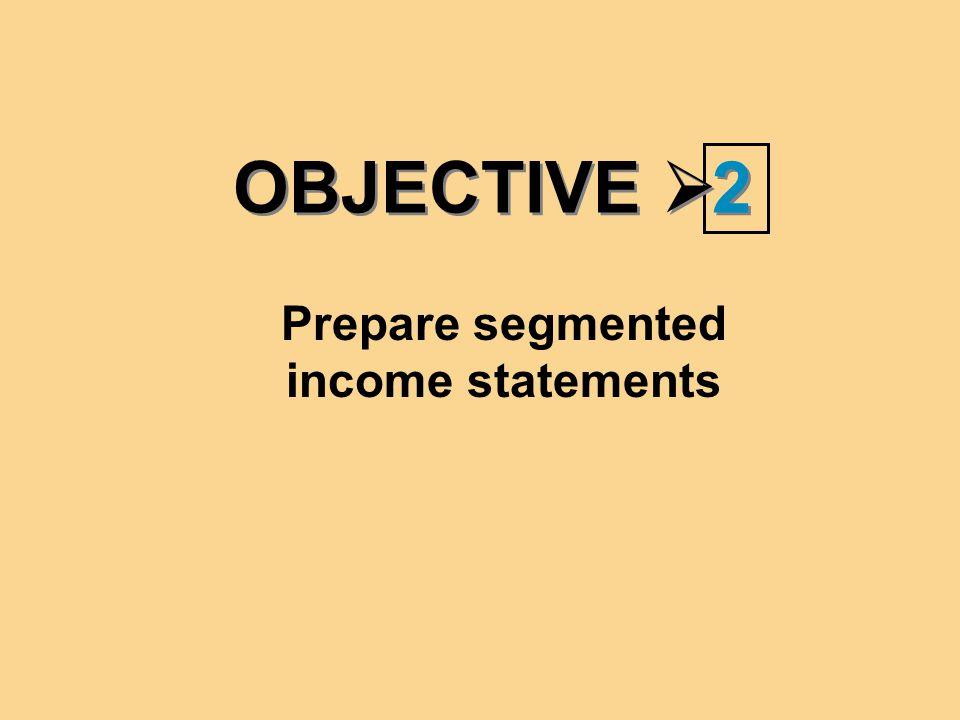 OBJECTIVE  2 2 Prepare segmented income statements