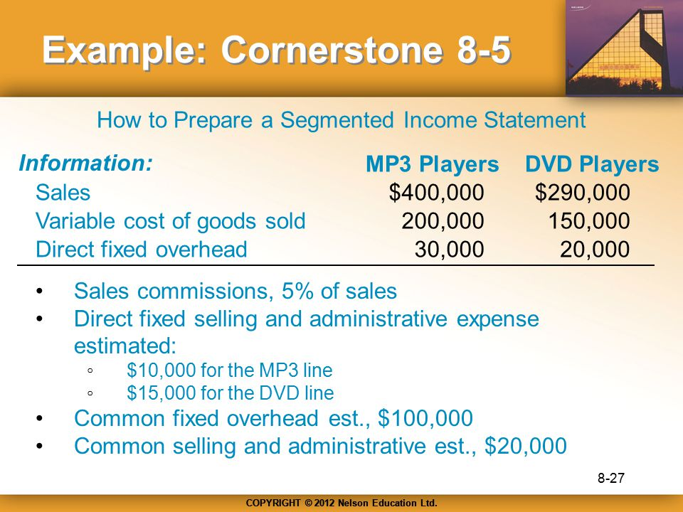 COPYRIGHT © 2012 Nelson Education Ltd. Example: Cornerstone 8-5 Information: Sales Variable cost of goods sold Direct fixed overhead Sales commissions