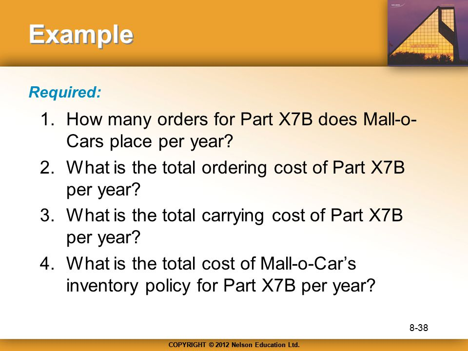 COPYRIGHT © 2012 Nelson Education Ltd. Example 1.How many orders for Part X7B does Mall-o- Cars place per year? 2.What is the total ordering cost of P