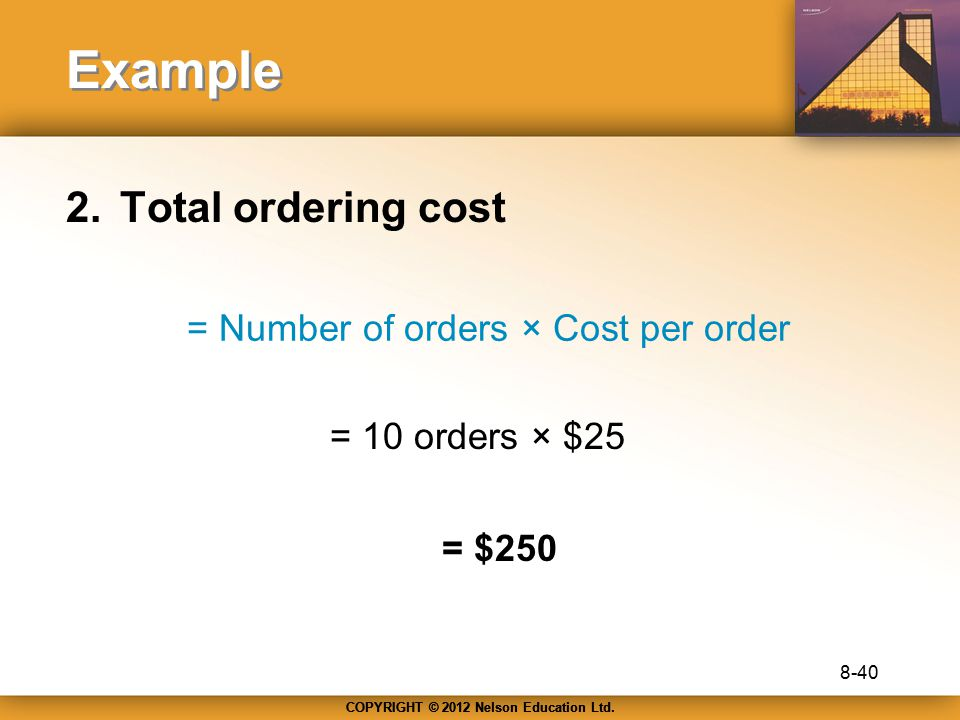 COPYRIGHT © 2012 Nelson Education Ltd. Example 2.Total ordering cost = Number of orders × Cost per order = 10 orders × $25 = $250 8-40