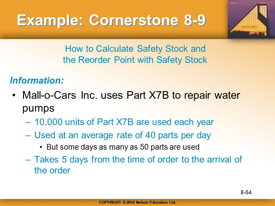 COPYRIGHT © 2012 Nelson Education Ltd. Example: Cornerstone 8-9 Mall-o-Cars Inc. uses Part X7B to repair water pumps –10,000 units of Part X7B are use
