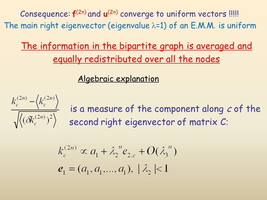Algebraic explanation is a measure of the component along c of the second right eigenvector of matrix C : The information in the bipartite graph is averaged and equally redistributed over all the nodes Consequence: f (2n) and u (2n) converge to uniform vectors !!!!.