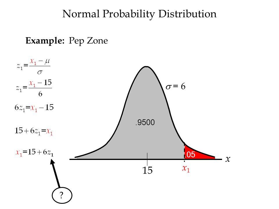 x.9500 15 Normal Probability Distribution Example: Pep Zone.05 x1 x1  = 6 z  = 1 0