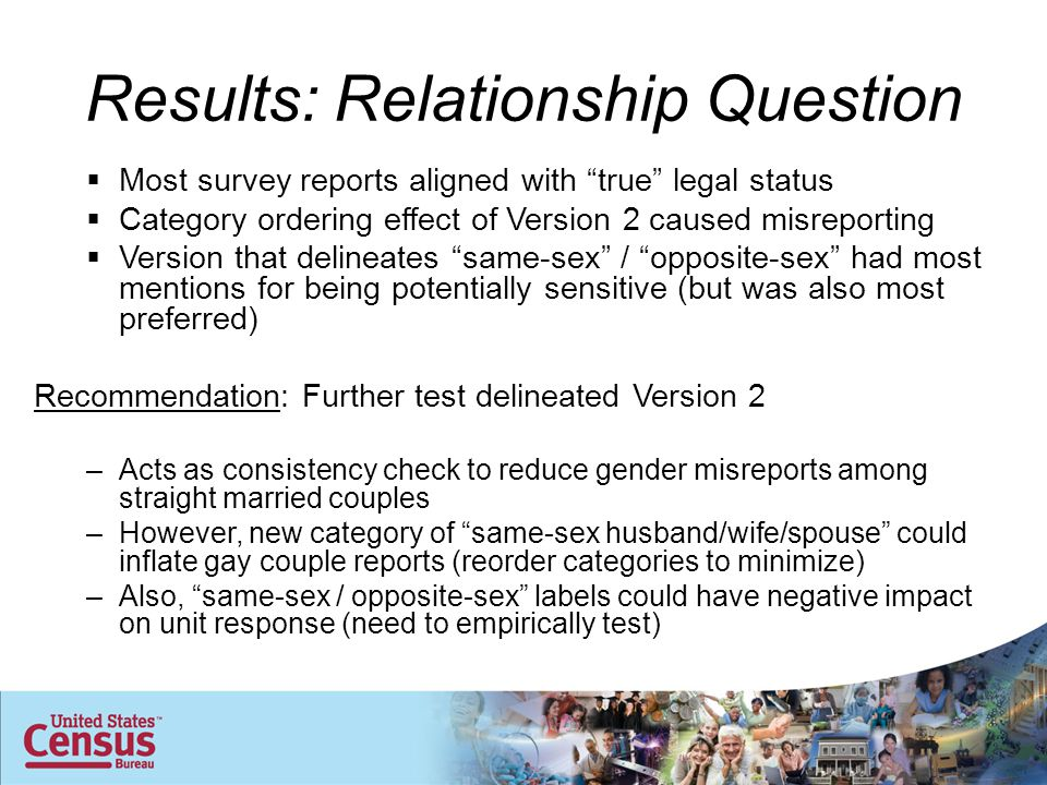 Results: Relationship Question  Most survey reports aligned with true legal status  Category ordering effect of Version 2 caused misreporting  Version that delineates same-sex / opposite-sex had most mentions for being potentially sensitive (but was also most preferred) Recommendation: Further test delineated Version 2 –Acts as consistency check to reduce gender misreports among straight married couples –However, new category of same-sex husband/wife/spouse could inflate gay couple reports (reorder categories to minimize) –Also, same-sex / opposite-sex labels could have negative impact on unit response (need to empirically test)