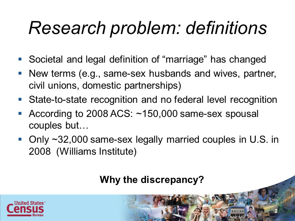 Research problem: definitions  Societal and legal definition of marriage has changed  New terms (e.g., same-sex husbands and wives, partner, civil unions, domestic partnerships)  State-to-state recognition and no federal level recognition  According to 2008 ACS: ~150,000 same-sex spousal couples but…  Only ~32,000 same-sex legally married couples in U.S.