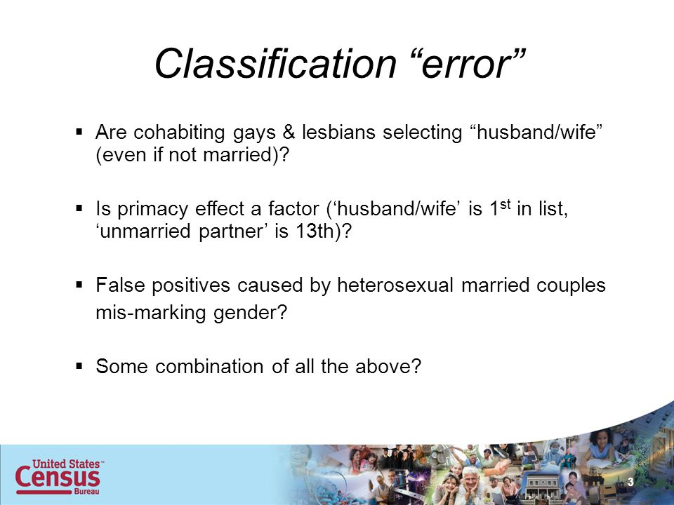 Classification error  Are cohabiting gays & lesbians selecting husband/wife (even if not married).