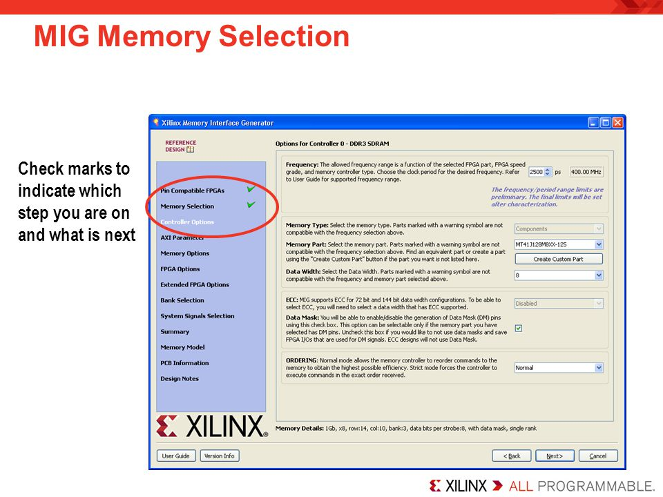 MIG Memory Selection Check marks to indicate which step you are on and what is next