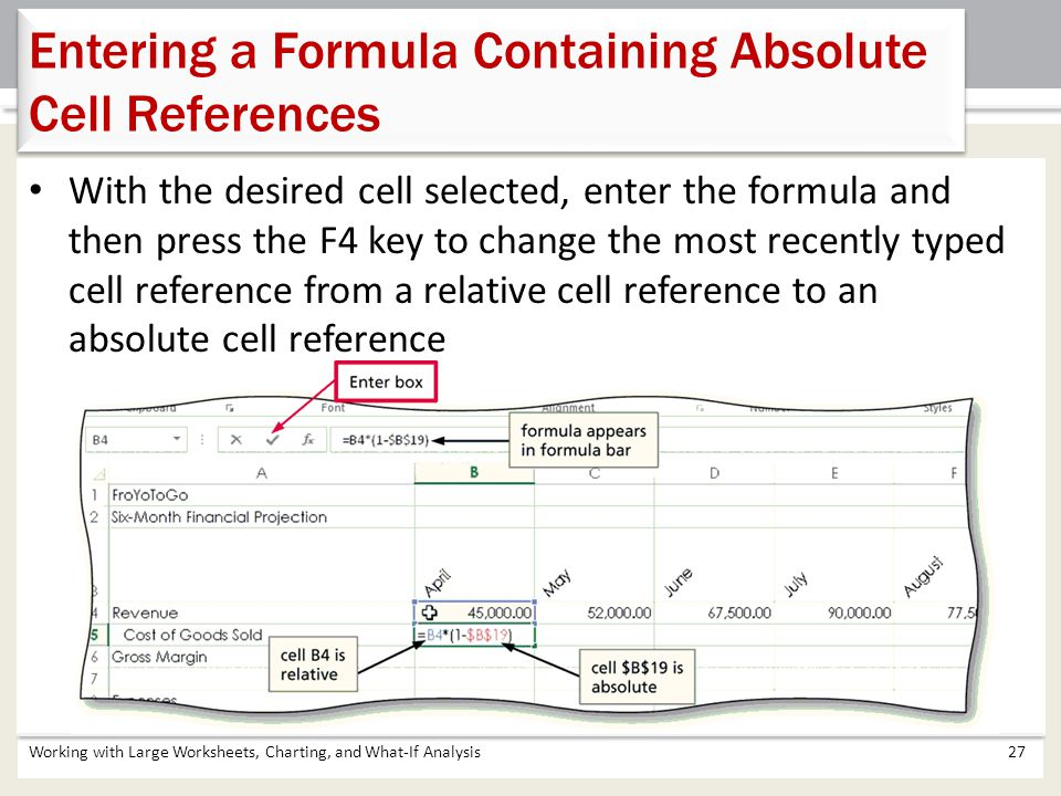 Working with Large Worksheets, Charting, and What-If Analysis27 Entering a Formula Containing Absolute Cell References With the desired cell selected,
