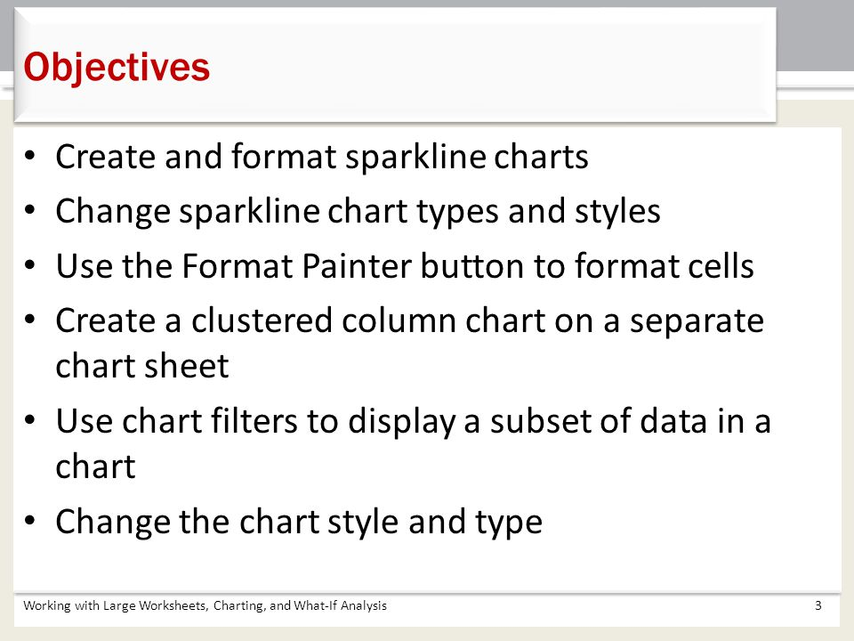 Create and format sparkline charts Change sparkline chart types and styles Use the Format Painter button to format cells Create a clustered column cha