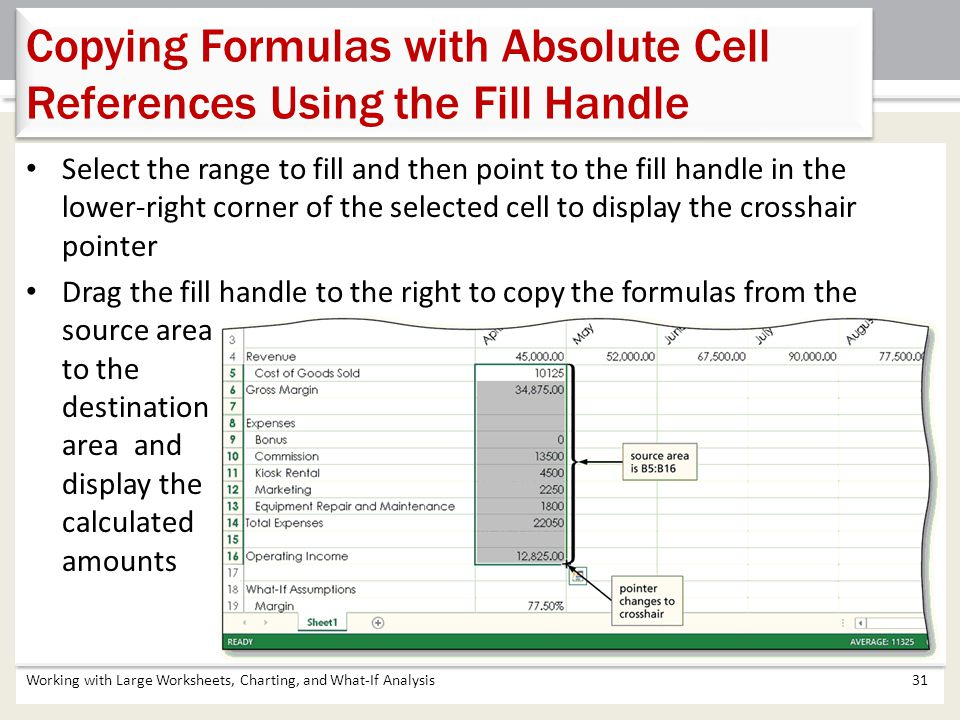 Working with Large Worksheets, Charting, and What-If Analysis31 Copying Formulas with Absolute Cell References Using the Fill Handle Select the range