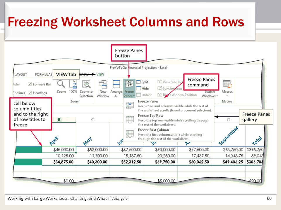 Working with Large Worksheets, Charting, and What-If Analysis60 Freezing Worksheet Columns and Rows