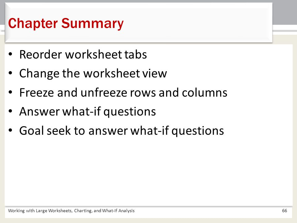 Chapter Summary Working with Large Worksheets, Charting, and What-If Analysis66 Reorder worksheet tabs Change the worksheet view Freeze and unfreeze r