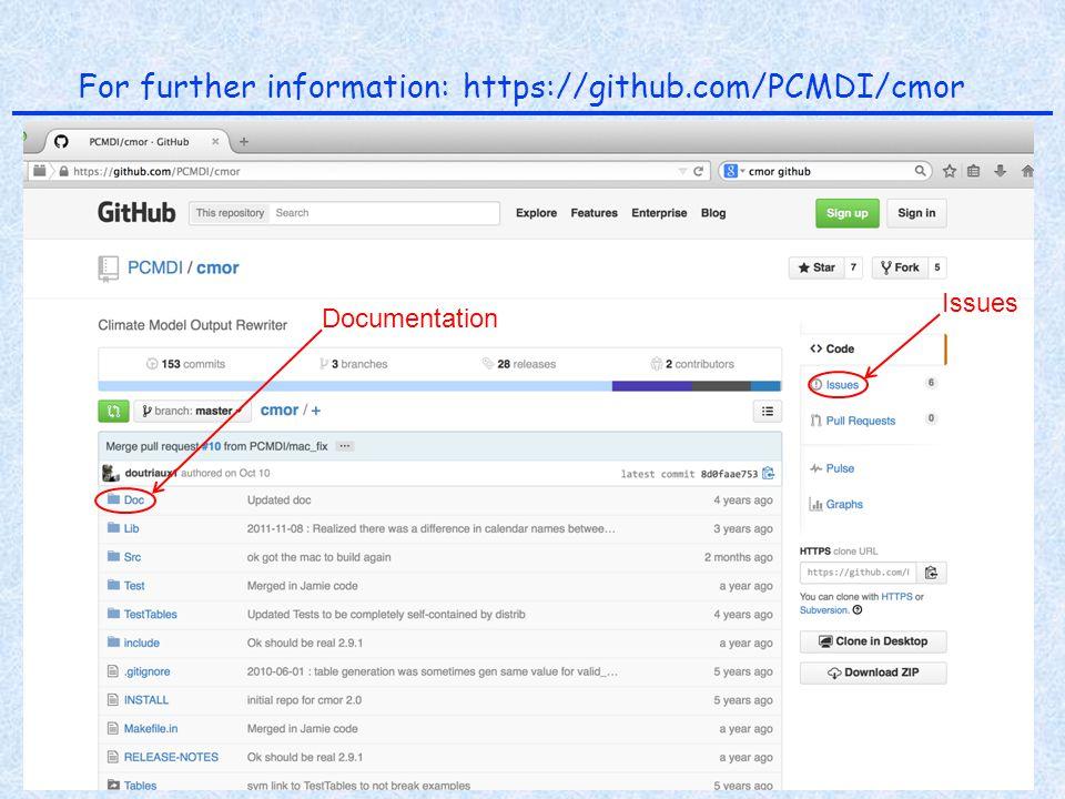ESGF F2F 11 December 2014 K. E. Taylor PCMDI For further information: https://github.com/PCMDI/cmor Issues Documentation
