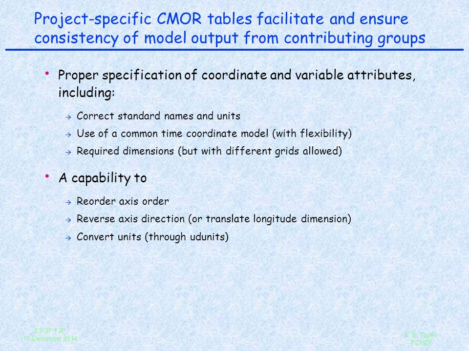 ESGF F2F 11 December 2014 K.E. Taylor PCMDI What standards does CMOR ensure compliance with.