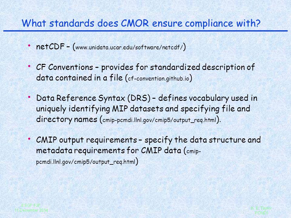ESGF F2F 11 December 2014 K. E. Taylor PCMDI What standards does CMOR ensure compliance with? netCDF – ( www.unidata.ucar.edu/software/netcdf/ ) CF Co