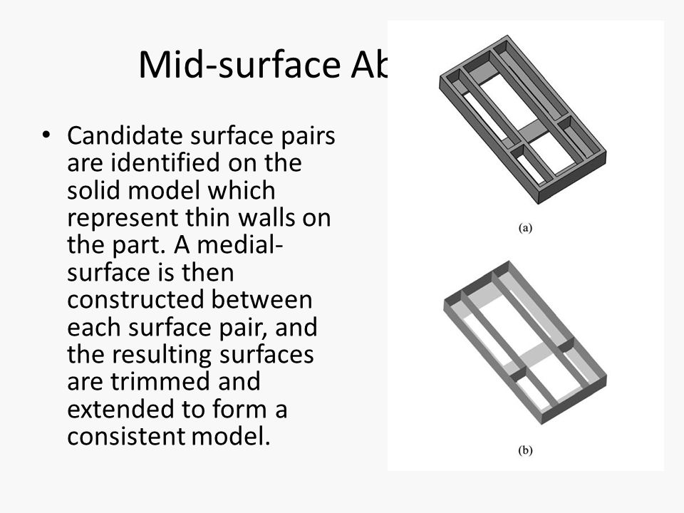Mid-surface Abstraction Candidate surface pairs are identified on the solid model which represent thin walls on the part.