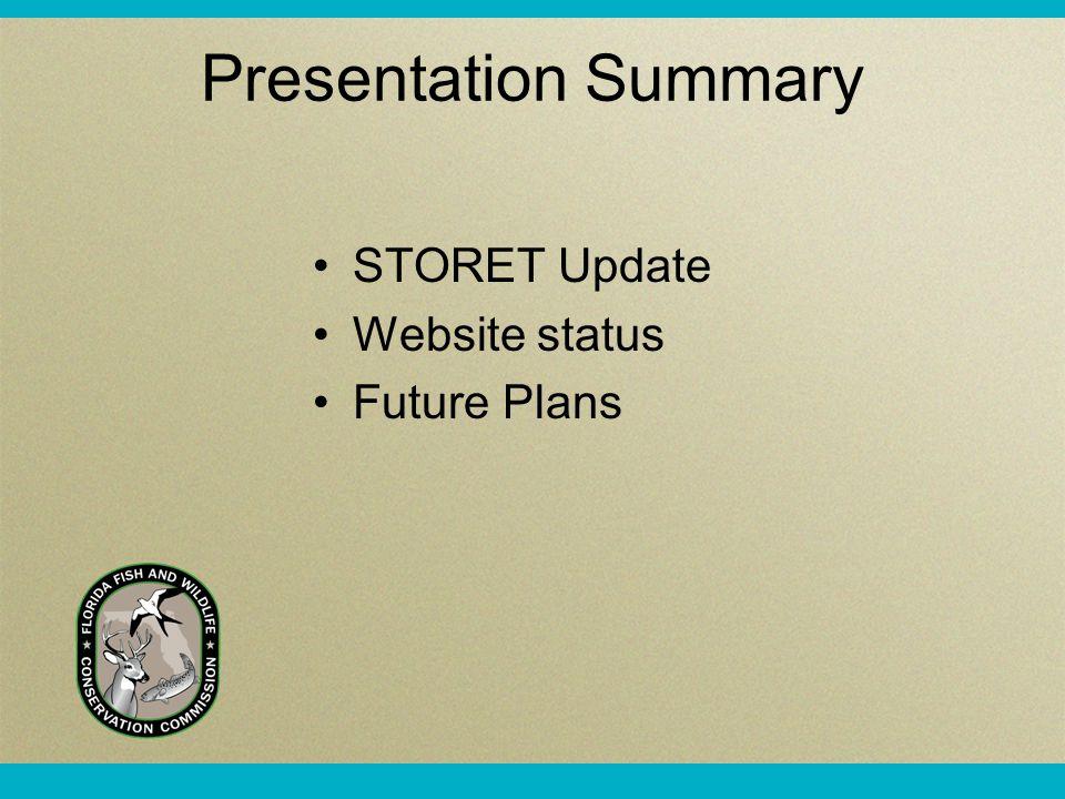 Presentation Summary STORET Update Website status Future Plans