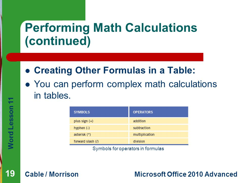 Word Lesson 11 Cable / MorrisonMicrosoft Office 2010 Advanced Performing Math Calculations (continued) Creating Other Formulas in a Table: You can perform complex math calculations in tables.