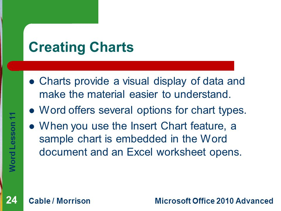 Word Lesson 11 Cable / MorrisonMicrosoft Office 2010 Advanced Creating Charts Charts provide a visual display of data and make the material easier to understand.