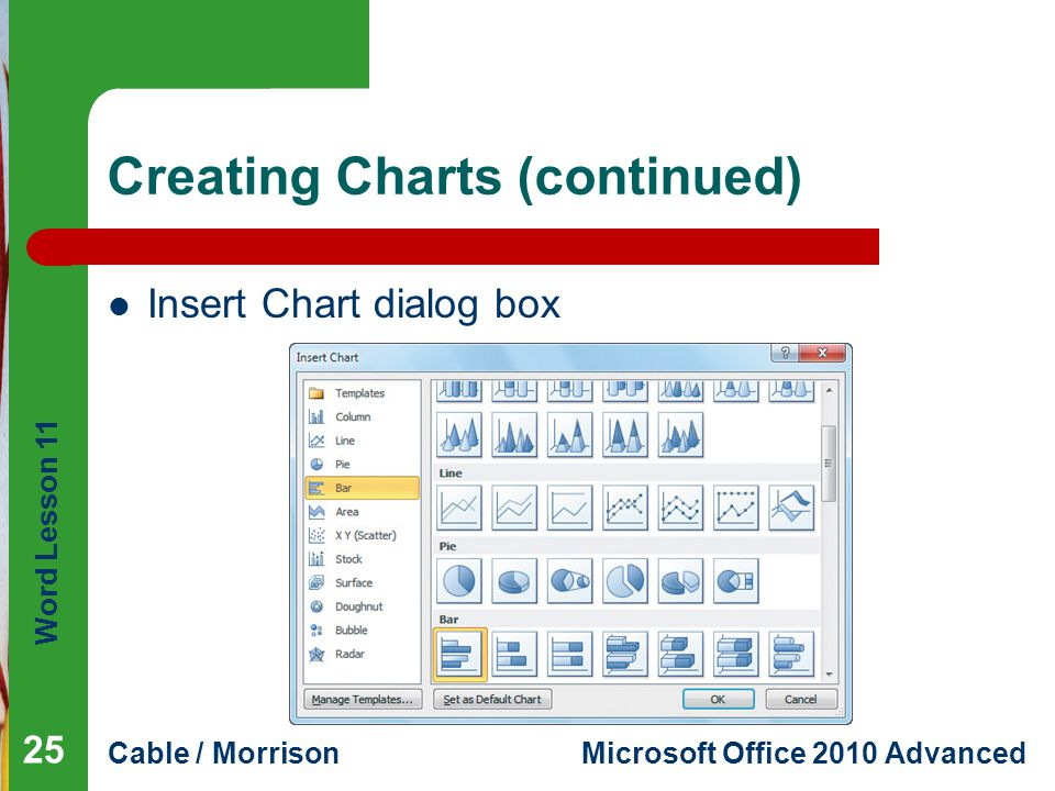 Word Lesson 11 Cable / MorrisonMicrosoft Office 2010 Advanced Creating Charts (continued) Insert Chart dialog box 25