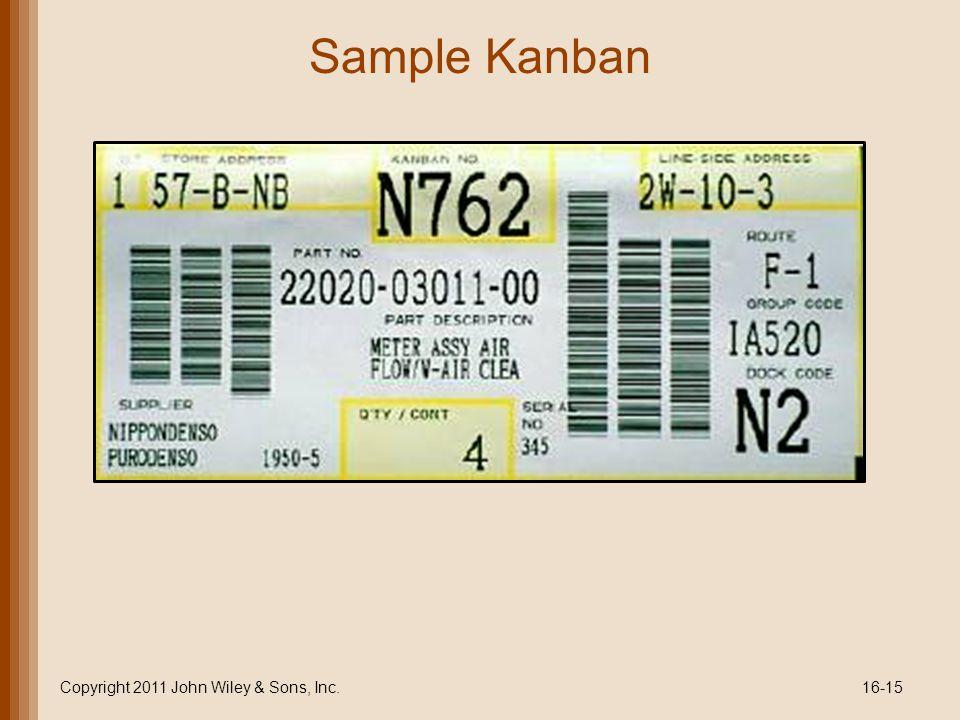 Sample Kanban Copyright 2011 John Wiley & Sons, Inc.16-15