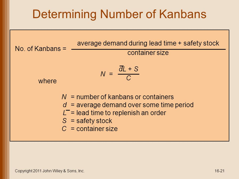 Determining Number of Kanbans Copyright 2011 John Wiley & Sons, Inc.16-21 where N = number of kanbans or containers d = average demand over some time period L = lead time to replenish an order S = safety stock C = container size No.
