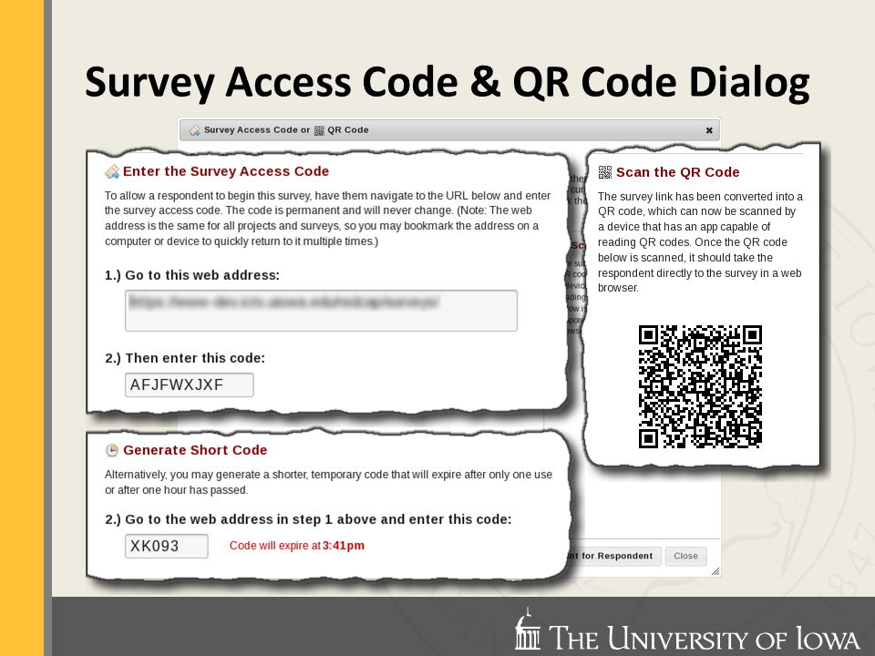 Survey Access Code & QR Code Dialog