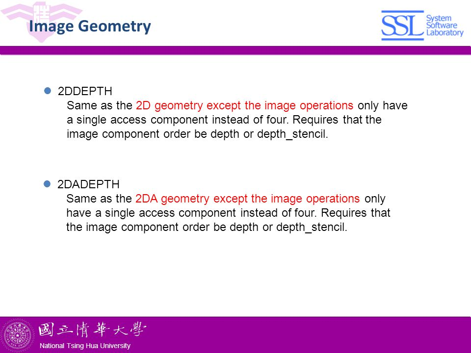 National Tsing Hua University ® copyright OIA National Tsing Hua University Image Geometry 2DDEPTH Same as the 2D geometry except the image operations only have a single access component instead of four.