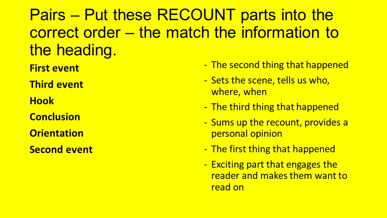 Pairs – Put these RECOUNT parts into the correct order – the match the information to the heading.