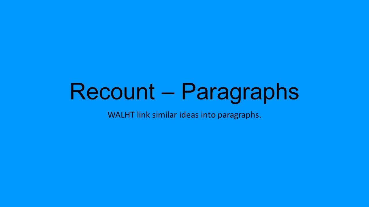 Recount – Paragraphs WALHT link similar ideas into paragraphs.