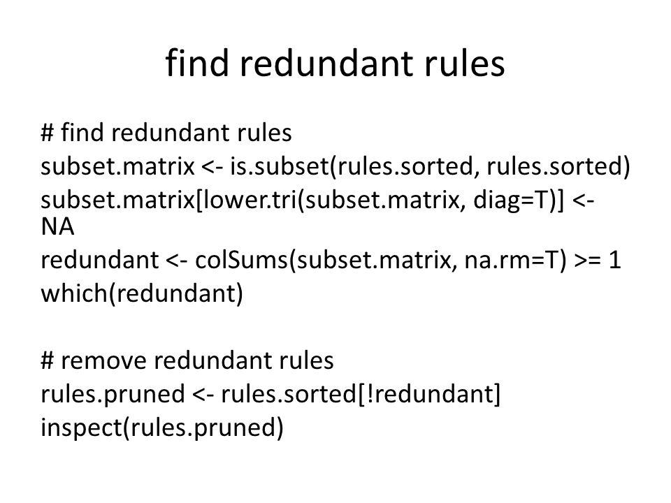 find redundant rules # find redundant rules subset.matrix <- is.subset(rules.sorted, rules.sorted) subset.matrix[lower.tri(subset.matrix, diag=T)] <- NA redundant = 1 which(redundant) # remove redundant rules rules.pruned <- rules.sorted[!redundant] inspect(rules.pruned)