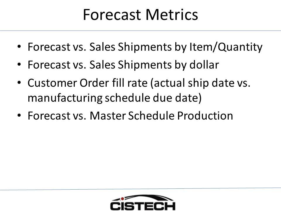 Forecast Metrics Forecast vs. Sales Shipments by Item/Quantity Forecast vs. Sales Shipments by dollar Customer Order fill rate (actual ship date vs. m