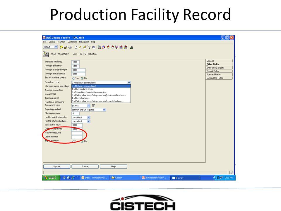 Production Facility Record