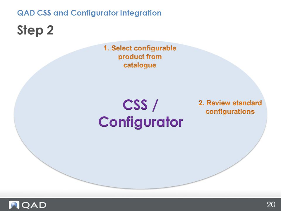 Step 2 QAD CSS and Configurator Integration 20