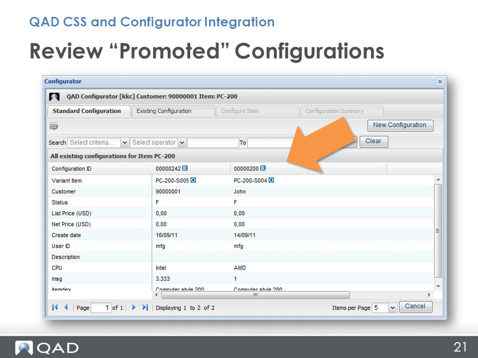 Review Promoted Configurations QAD CSS and Configurator Integration 21