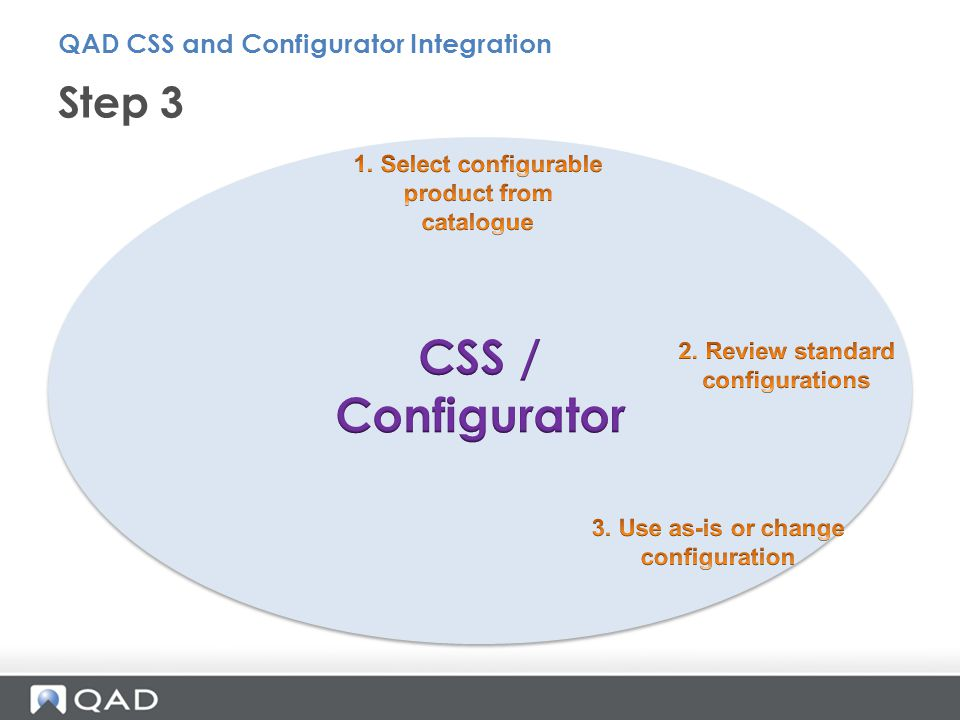 Step 3 QAD CSS and Configurator Integration