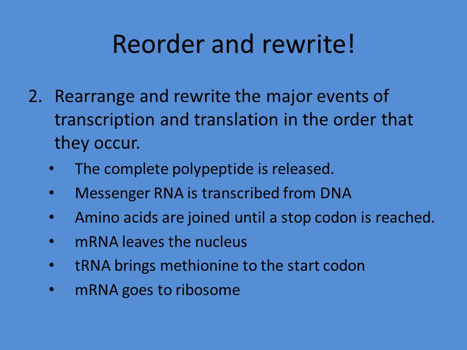 Reorder and rewrite! 2.Rearrange and rewrite the major events of transcription and translation in the order that they occur. The complete polypeptide