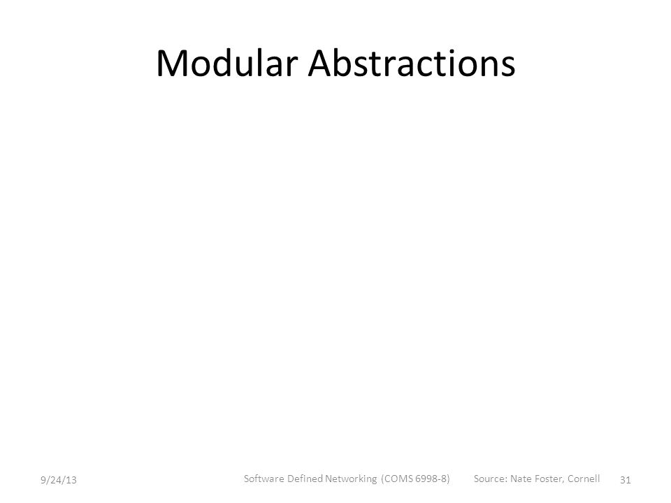 Modular Abstractions 9/24/13 Software Defined Networking (COMS 6998-8) 31 Source: Nate Foster, Cornell